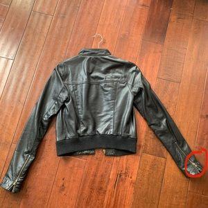Haute Hippie Black Leather bomber jacket (Small)